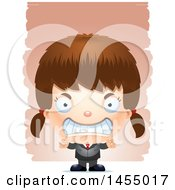 Clipart Graphic Of A 3d Mad White Business Girl Against Strokes Royalty Free Vector Illustration