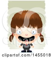 Clipart Graphic Of A 3d Happy White Business Girl Against Strokes Royalty Free Vector Illustration