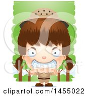 Clipart Graphic Of A 3d Mad White Safari Girl Against Trees Royalty Free Vector Illustration