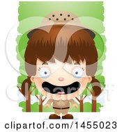 Clipart Graphic Of A 3d Happy White Safari Girl Against Trees Royalty Free Vector Illustration