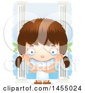 3d Grinning White Greek Girl With Columns