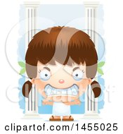 3d Mad White Greek Girl With Columns
