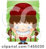 3d Grinning White Lumberjack Girl In The Woods