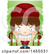Clipart Graphic Of A 3d Mad White Lumberjack Girl In The Woods Royalty Free Vector Illustration