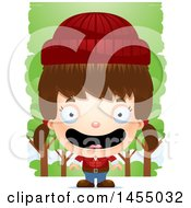 Clipart Graphic Of A 3d Happy White Lumberjack Girl In The Woods Royalty Free Vector Illustration