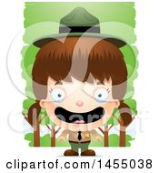 Clipart Graphic Of A 3d Happy White Park Ranger Girl In The Woods Royalty Free Vector Illustration