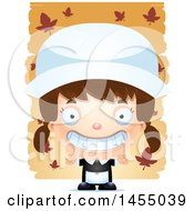 Clipart Graphic Of A 3d Grinning White Pilgrim Girl Over Leaves Royalty Free Vector Illustration