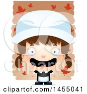Clipart Graphic Of A 3d Mad White Pilgrim Girl Over Leaves Royalty Free Vector Illustration