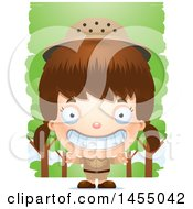 Clipart Graphic Of A 3d Grinning White Safari Girl Against Trees Royalty Free Vector Illustration