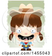 Clipart Graphic Of A 3d Happy White Girl Cowgirl Sheriff Over Strokes Royalty Free Vector Illustration