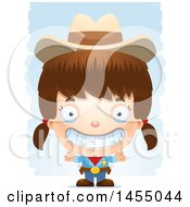 Clipart Graphic Of A 3d Grinning White Girl Cowgirl Sheriff Over Strokes Royalty Free Vector Illustration