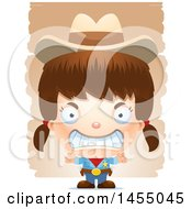 Clipart Graphic Of A 3d Mad White Girl Cowgirl Sheriff Over Strokes Royalty Free Vector Illustration
