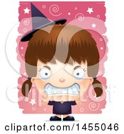 Clipart Graphic Of A 3d Mad White Witch Girl Over A Spiral And Star Pattern Royalty Free Vector Illustration