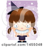 Clipart Graphic Of A 3d Grinning White Witch Girl Over A Spiral And Star Pattern Royalty Free Vector Illustration