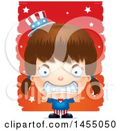 Clipart Graphic Of A 3d Mad White American Uncle Sam Girl Against Strokes Royalty Free Vector Illustration