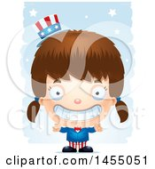 Clipart Graphic Of A 3d Grinning White American Uncle Sam Girl Against Strokes Royalty Free Vector Illustration