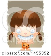 Clipart Graphic Of A 3d Grinning White Caveman Girl Over Strokes Royalty Free Vector Illustration