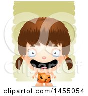 Clipart Graphic Of A 3d Happy White Caveman Girl Over Strokes Royalty Free Vector Illustration