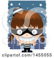 Clipart Graphic Of A 3d Grinning White Robber Girl Against A City At Night Royalty Free Vector Illustration