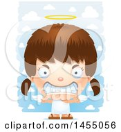 Clipart Graphic Of A 3d Mad White Angel Girl Over Clouds Royalty Free Vector Illustration