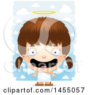 Poster, Art Print Of 3d Happy White Angel Girl Over Clouds