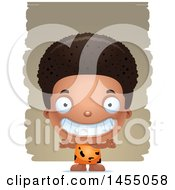 Clipart Graphic Of A 3d Grinning Black Caveman Boy Over Strokes Royalty Free Vector Illustration