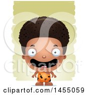 Clipart Graphic Of A 3d Happy Black Caveman Boy Over Strokes Royalty Free Vector Illustration