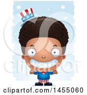 Clipart Graphic Of A 3d Grinning Black American Uncle Sam Boy Against Strokes Royalty Free Vector Illustration