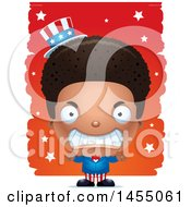 Clipart Graphic Of A 3d Mad Black American Uncle Sam Boy Against Strokes Royalty Free Vector Illustration