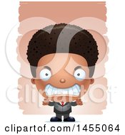 Clipart Graphic Of A 3d Mad Black Business Boy Against Strokes Royalty Free Vector Illustration