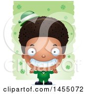 3d Grinning Black Irish Boy Over St Patricks Day Shamrocks
