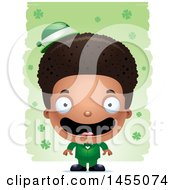 3d Happy Black Irish Boy Over St Patricks Day Shamrocks