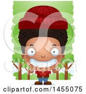 Clipart Graphic Of A 3d Grinning Black Lumberjack Boy In The Woods Royalty Free Vector Illustration
