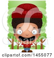 Clipart Graphic Of A 3d Happy Black Lumberjack Boy In The Woods Royalty Free Vector Illustration