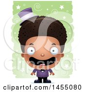 Clipart Graphic Of A 3d Happy Black Magician Boy Over A Spiral And Star Pattern Royalty Free Vector Illustration