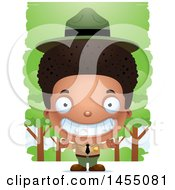 Clipart Graphic Of A 3d Grinning Black Park Ranger Boy In The Woods Royalty Free Vector Illustration