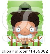 Clipart Graphic Of A 3d Mad Black Park Ranger Boy In The Woods Royalty Free Vector Illustration