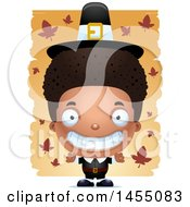 Clipart Graphic Of A 3d Grinning Black Pilgrim Boy Over Leaves Royalty Free Vector Illustration