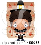 Clipart Graphic Of A 3d Mad Black Pilgrim Boy Over Leaves Royalty Free Vector Illustration