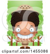 Clipart Graphic Of A 3d Grinning Black Safari Boy Against Trees Royalty Free Vector Illustration