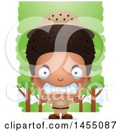 Clipart Graphic Of A 3d Mad Black Safari Boy Against Trees Royalty Free Vector Illustration