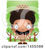 Clipart Graphic Of A 3d Happy Black Safari Boy Against Trees Royalty Free Vector Illustration