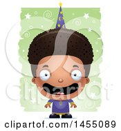 Clipart Graphic Of A 3d Happy Black Wizard Boy Over A Spiral And Star Pattern Royalty Free Vector Illustration