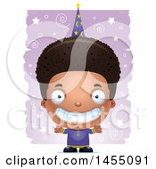 Clipart Graphic Of A 3d Grinning Black Wizard Boy Over A Spiral And Star Pattern Royalty Free Vector Illustration