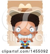 Clipart Graphic Of A 3d Mad Black Boy Cowboy Sheriff Over Strokes Royalty Free Vector Illustration