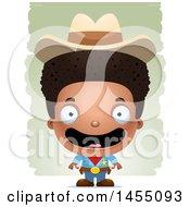 Poster, Art Print Of 3d Happy Black Boy Cowboy Sheriff Over Strokes