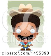 Clipart Graphic Of A 3d Happy Black Boy Cowboy Sheriff Over Strokes Royalty Free Vector Illustration