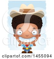 Clipart Graphic Of A 3d Grinning Black Boy Cowboy Sheriff Over Strokes Royalty Free Vector Illustration