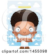 Clipart Graphic Of A 3d Mad Black Angel Boy Over Clouds Royalty Free Vector Illustration