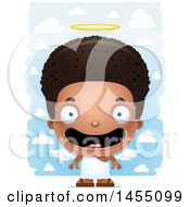 Clipart Graphic Of A 3d Happy Black Angel Boy Over Clouds Royalty Free Vector Illustration